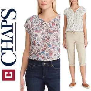 🆕CHAPS>Cream/Floral Lace-Up Top